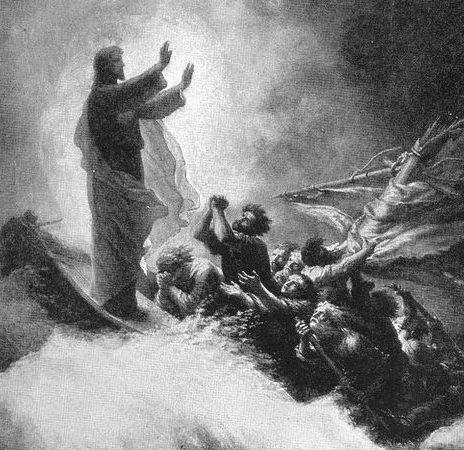 "Jesus calms the sea saying ""Peace, be still"" Mark 4:39"